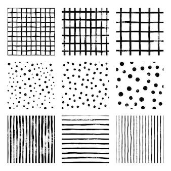 흑백 손으로 그리는 벡터 원활한 패턴 스트립, 그리드, 폴카 도트를 설정합니다. 흑백의 끝없는 질감. 스칸디나비아 심플한 스타일. 세련된 트렌디 한 배경 원시 스크래치 질감