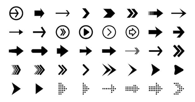 Webデザインに黒い矢印を設定します。矢印ベクトルアイコン。矢印アイコン。大きな黒いベクトル矢印のセットです。カーソルをクリックします。矢印アイコンパック