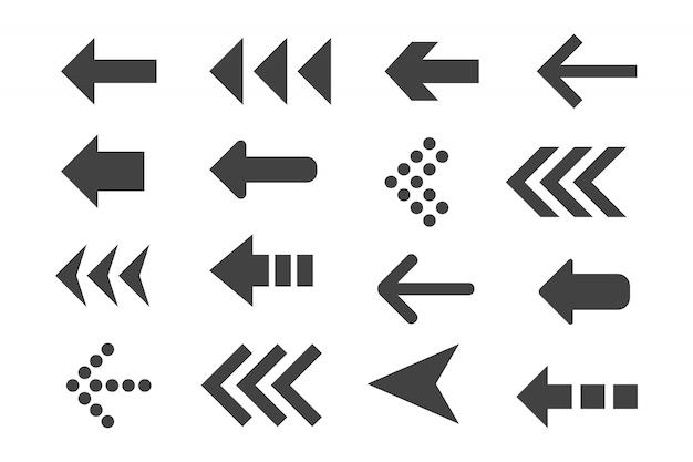Set of black arrows.