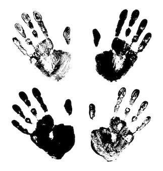 Set of black art hand prints