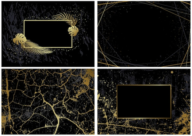 Set of black backgrounds with artistic golden decorations