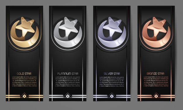 Set of black banners,