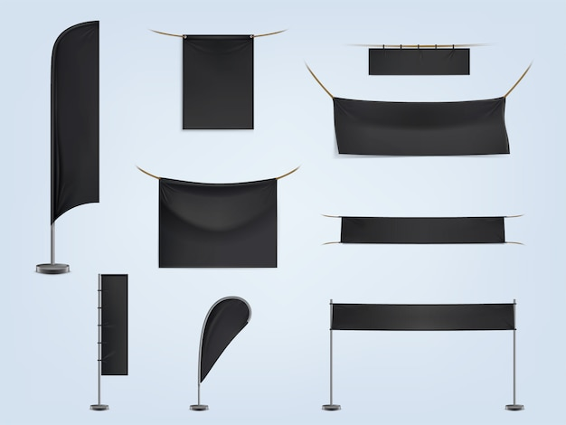 Set of black blank textile banners or flags, stretched and hanging