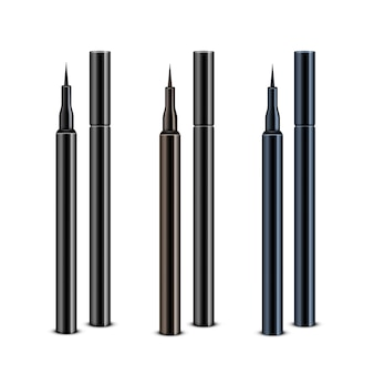 Set of black brown blue cosmetic makeup eyeliner pencilswithout caps