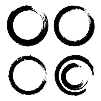 Set of black brush strokes in the form of a circle.  element for poster, card, sign, banner.  illustration