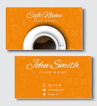 Set of black business cards for coffee shop and cafe