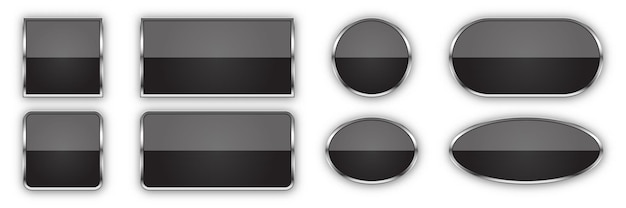 Set of black buttons with metallic frame isolated on white