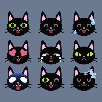 Set of black cat emoticon sticker isolated