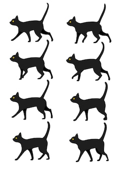 Set of black cat icon collection. black cat poses for walk animation preset.   illustration  on white background