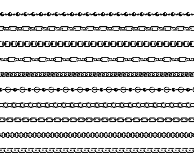 Set of black chains isolated on white background.