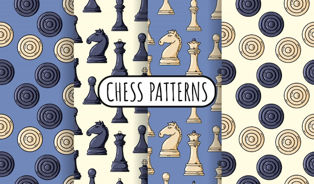 Set of  black chess pieces seamless patterns. collection of chess wallpapers. vector flat illustration