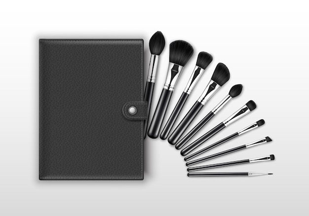 Set of black clean professional makeup concealer powder blush eye shadow brow brushes