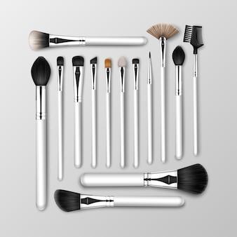 Set of black clean professional makeup concealer powder blush eye shadow brow brushes