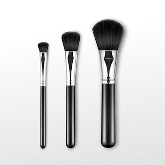 Set of black clean professional makeup powder round large medium small brush with black handle isolated on white background