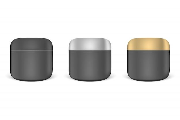 Set of black cream jars
