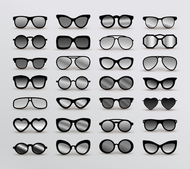Set of black different eyeglasses.