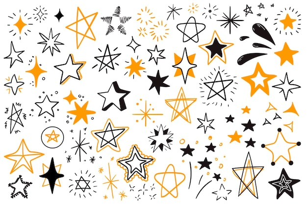 Set of black doodles stars