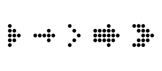 Set of black dotted arrow. arrows icon. dotted arrow vector collection