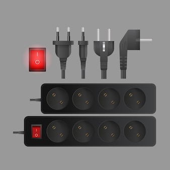 A set of black extension cords with three outlets. plug for socket. realistic style vector.