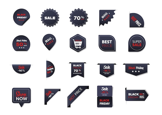Набор значков черной пятницы специальное предложение распродажа промо маркетинг праздничные покупки