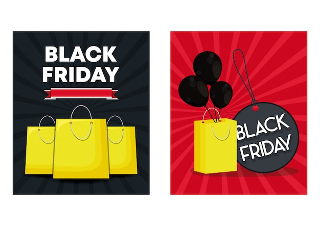 Set of black friday banners