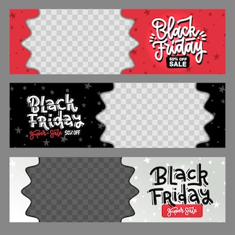 Set of black friday best sale horizontal layout banners with star pattern.