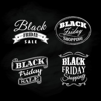 Set black friday blackboard calligraphic vintage ornaments