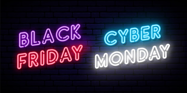 Set of black friday and cyber monday neon designs.