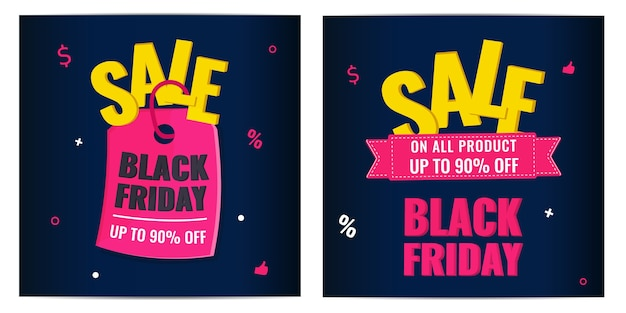 Set of black friday event sale modern banners with pink tag on dark background. advertising campaign concept.