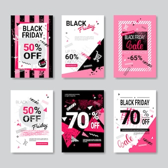 Set of black friday flyer template design for leaflet, handbill, booklet, handout or pamphlet