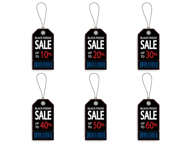 Set of black friday price discount sale tag label with barcode