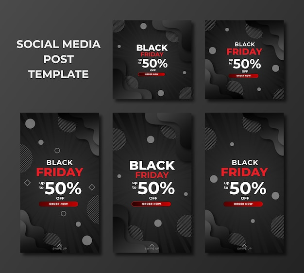 Set of black friday sale in modern design template for social media post