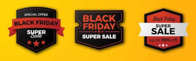 Set of black friday sale offer badge banner