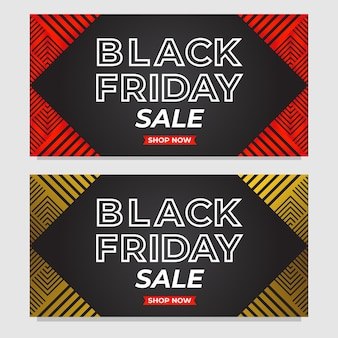 Set of black friday sale promotion banners with abstract triangle shape template
