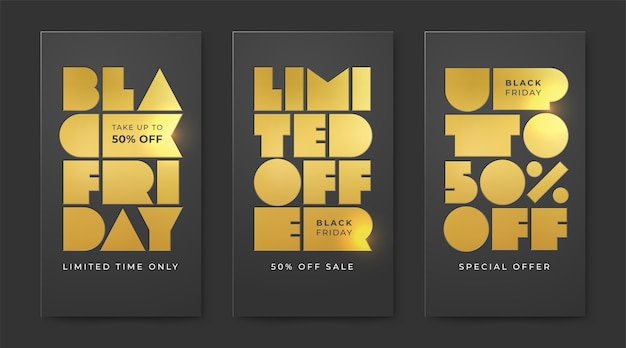 Set of black friday sale with letterpress gold foil . limited offer and discounts up to fifty percent.