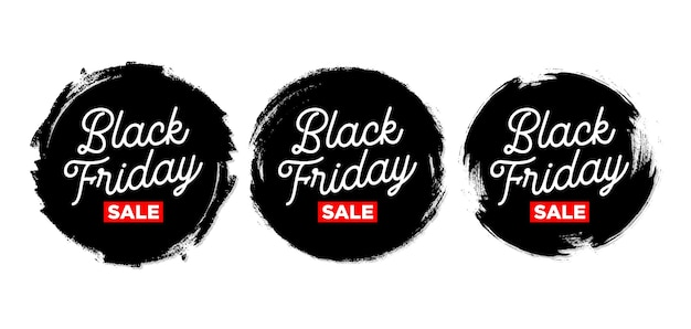 Set of black friday sticker with grunge