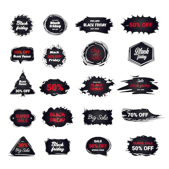 Set black friday stickers discount badges collection holiday shopping concept big sale labels