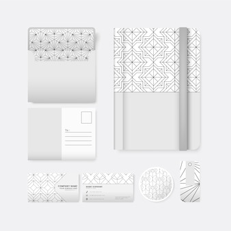 Set of black geometric pattern on white surface stationery