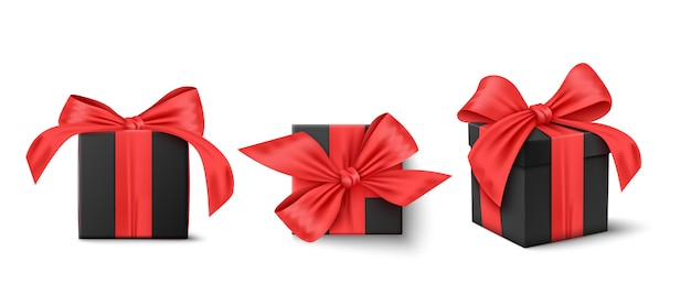 Set of black gifts box. collection realistic gift presents. high quality .  illustration