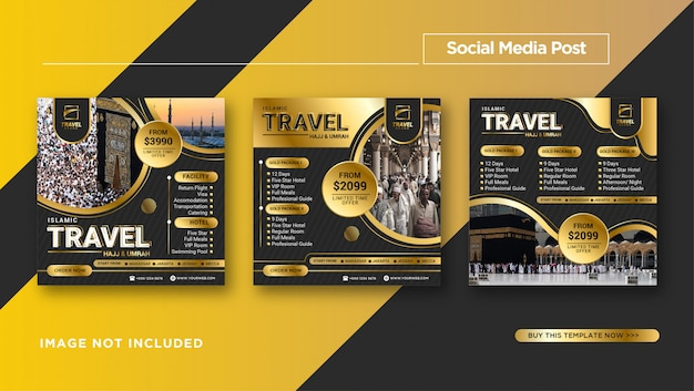 Set of black gold luxury hajj & umrah instagram post template