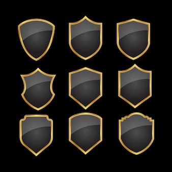Set of black gold shield