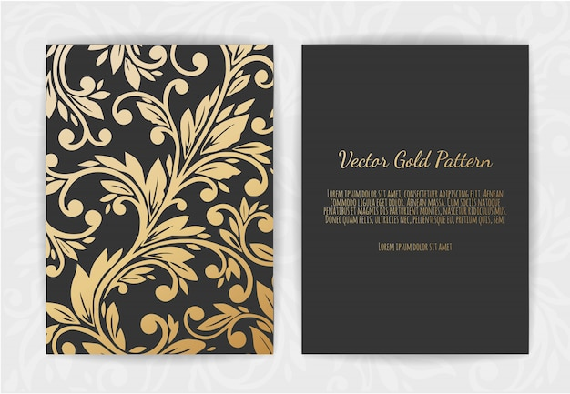 Set of black and gold templates