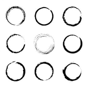 Set of black grunge circle