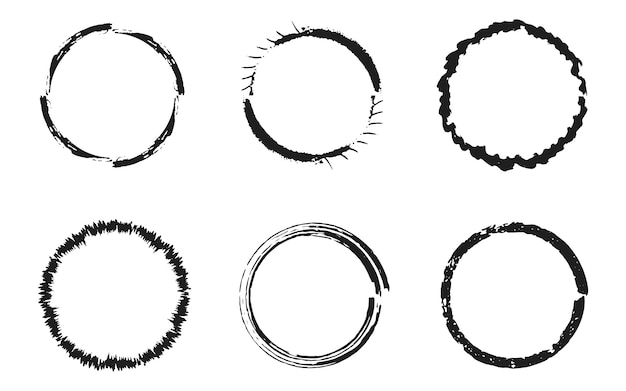 Set of black grunge circles, round frames