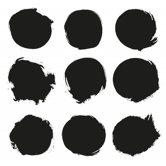 Set of black grunge circles.