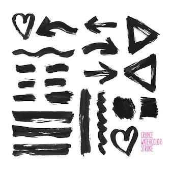 Set of black grunge vector abstract brush strokes. hand-drawn illustration