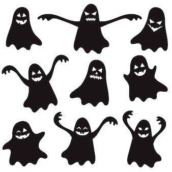 Set of black halloween ghosts for