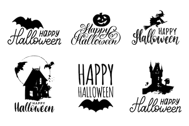 Set of black halloween icons isolated on white