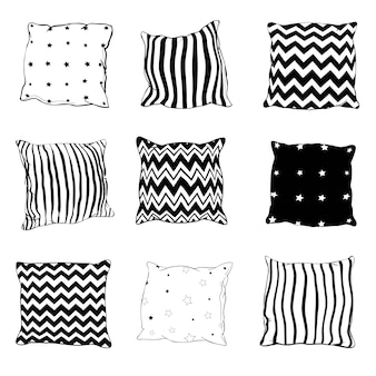 Set of black hand-drawn sketch style pillows
