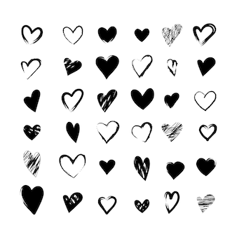 Set of black heart icons  collection